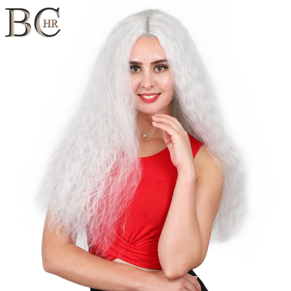 BCHR Kinky Curly 13*4 Lace Front Wig Heat Resistant Hair White Women Daily Makeup Synthetic Party Cosplay Wig