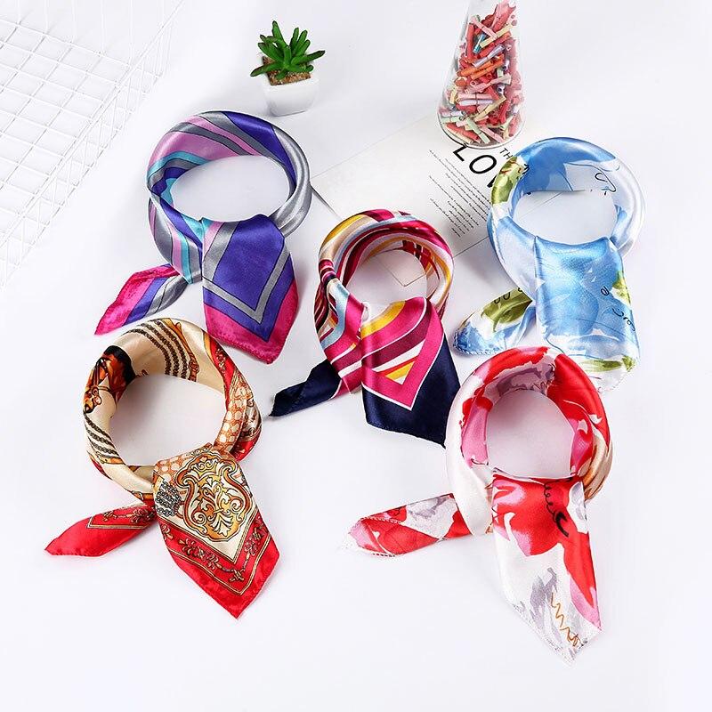 50*50cm New Women Scarf Small High Soft Squares Decorative Multi-functional Pattern Print Head Silk Scarf Fashion Ladies Scarves