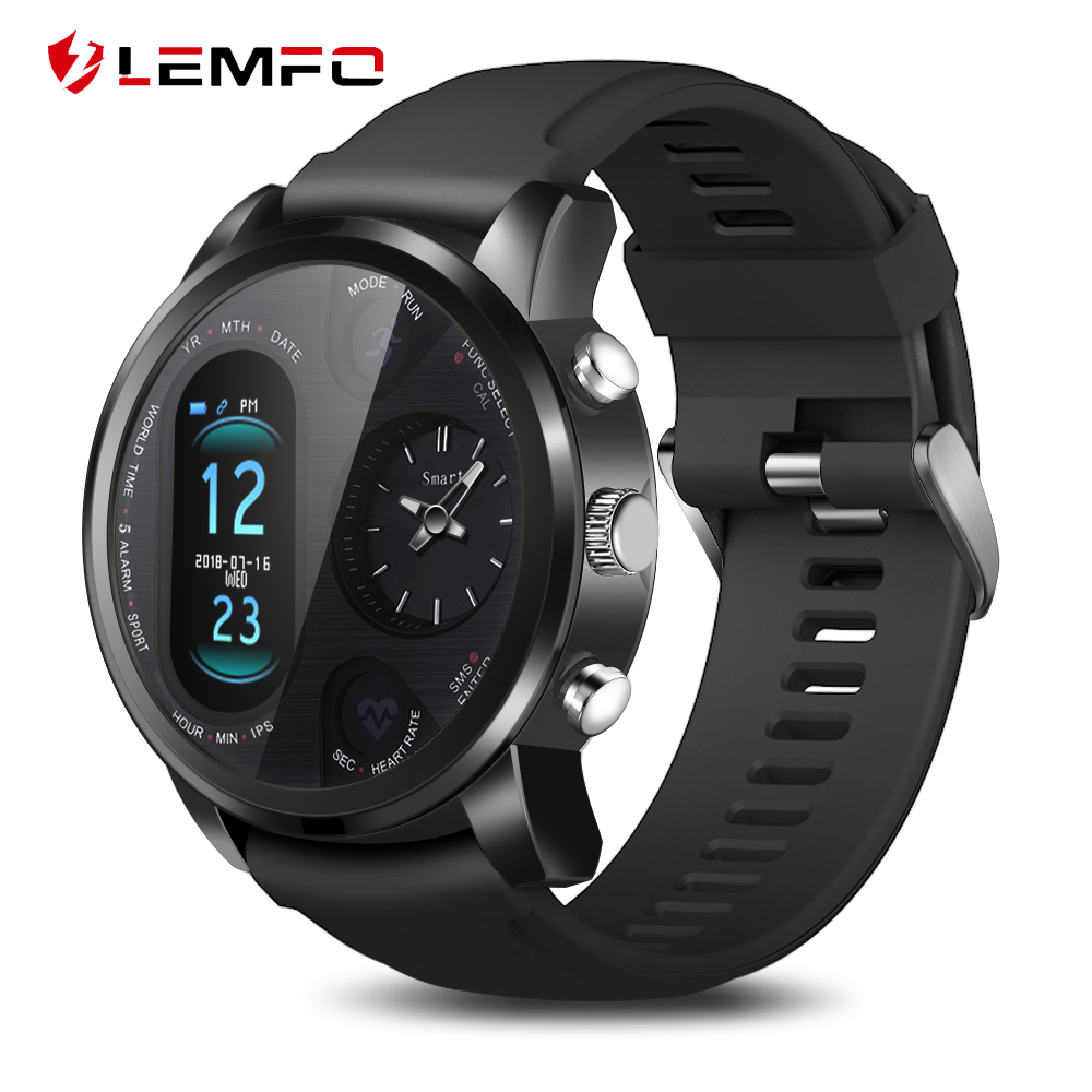 LEMFO Dual Display Smart Watch Men IP67 Waterproof Heart Rate Blood Pressure Message Push Smartwatch Women Standby 15 Days-in Smart Watches from Consumer Electronics on AliExpress
