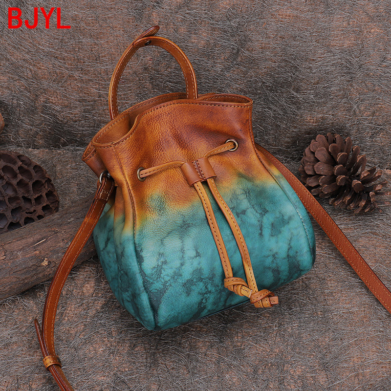 Vintage Casual women Drawstring Portable Bucket Bag Advanced Sense Top Layer Leather female Crossbody Shoulder Pouch bags small