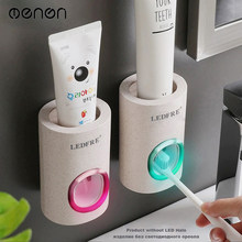 MENEN Bathroom Accessories Automatic Toothpaste Dispenser Dust-Proof Toothbrush Holder Wheat Straw Wall Mounted Home Squeezer