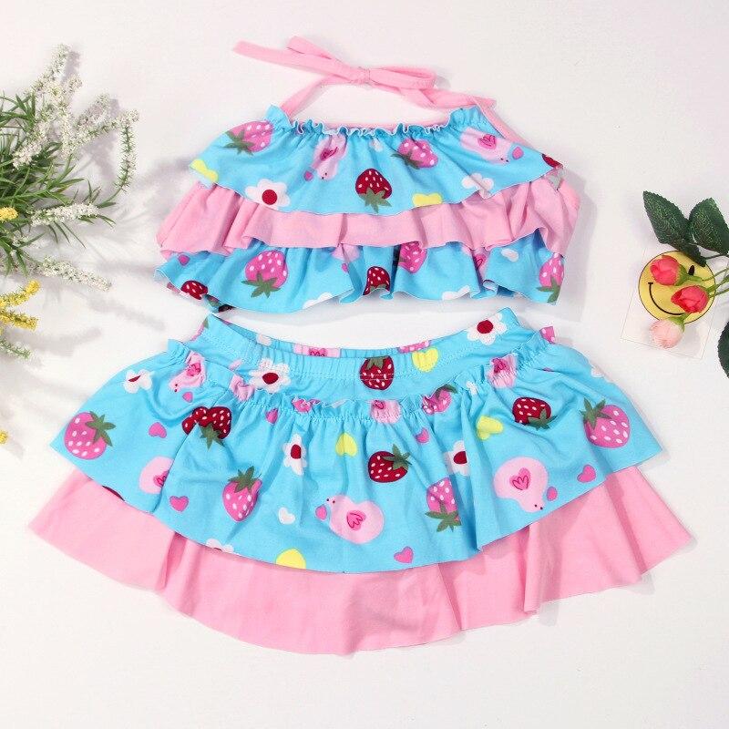 New Style Colorful Children's Swimwear Cute Little Girl Split Skirt-Style Bathing Suit Korean-style Bikini Swimsuit