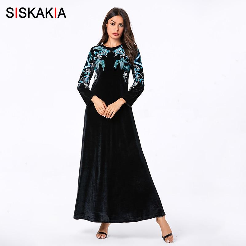 Siskakia Casual Muslim Dresses Plus Size Fashion Velvet Leaves Embroidered Maxi Long Dress Navy Blue O Neck Long Sleeve Fall New