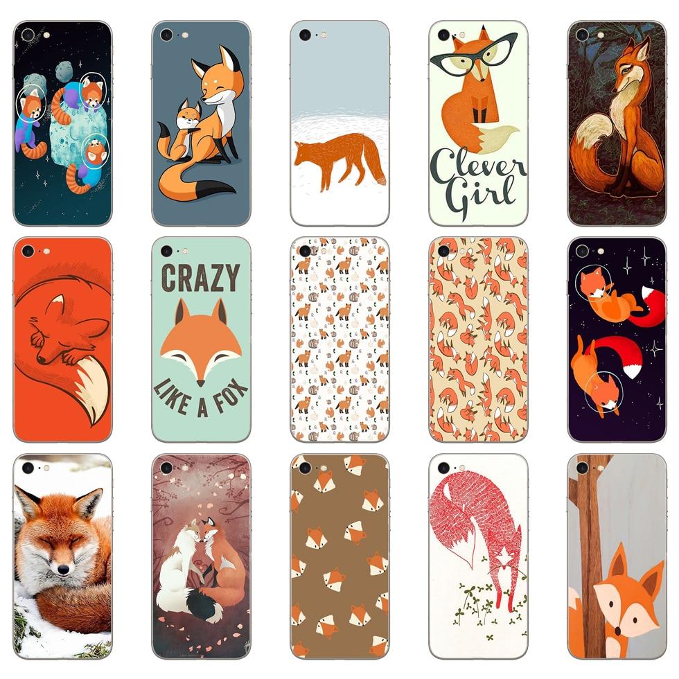 72DD sly fox Soft Silicone Cover Case for iphone 5 5s se 6 6s 8 plus 7 7 Plus X XS SR MAX case