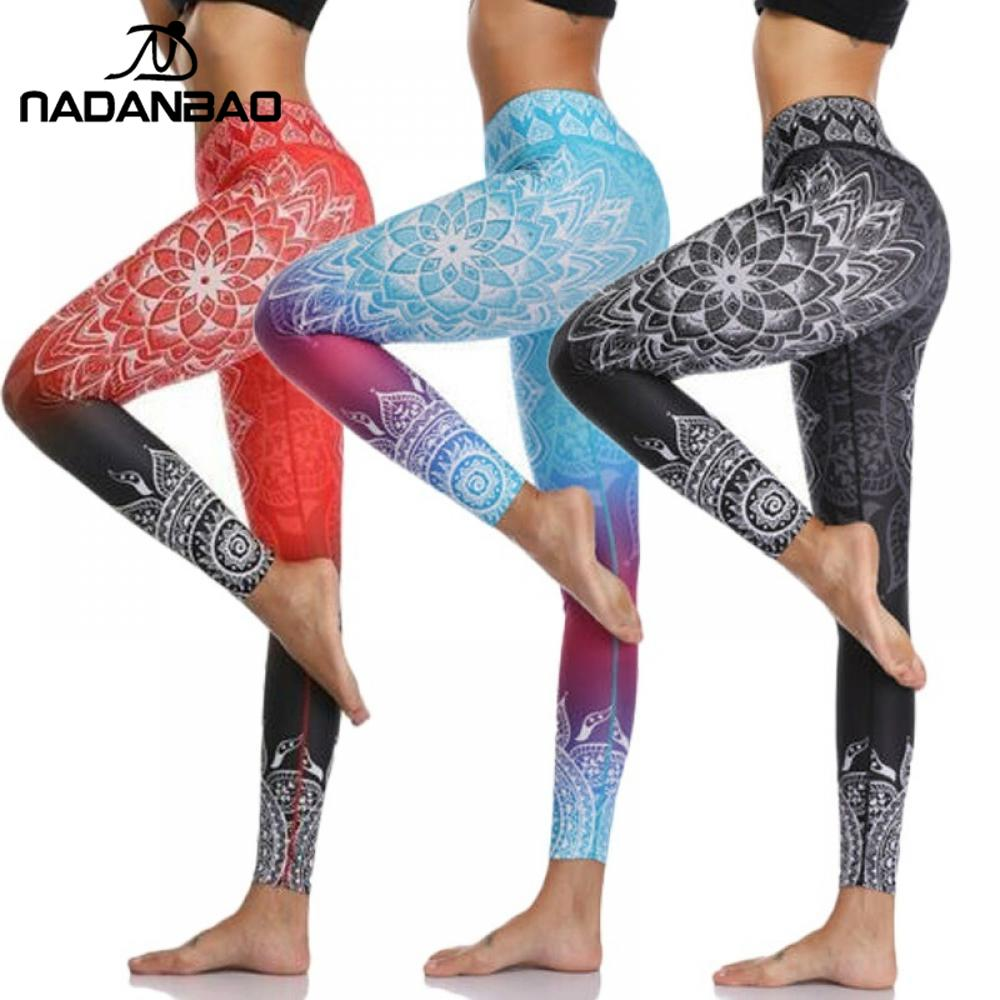 NADANBAO 2020 New High-Waist Mandala Leggings Gradient Color Workout Pants Chakra Fitness Leggin For Women Elastic Pants Plus