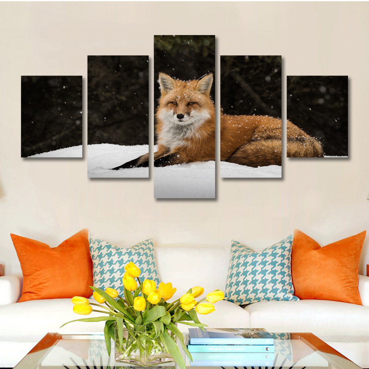 AliExpress 5 Wall Art Paintings Animal Winter Fox Home Decoration A Customizable