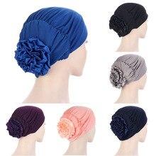 2021 Woman Big Flower Turban Elastic Hair Bands Hat Chemo Beanie Ladies Muslim Solid Hair Loss Scarf Cap Girls Hair Accessories