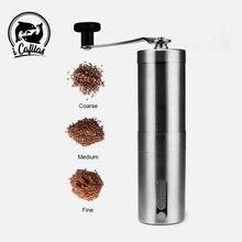 Ręczny młynek do kawy do francuskiej maszyna do wytłaczania, ręczny mini, kubek K, szczotkowana przenośna szlifierka stożkowa ze stali nierdzewnej