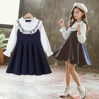 2019 New Girls Clothing Dress Baby Casual Dress Kids Patchwork Fall Clothes Children Long Sleeve Dress Blue White