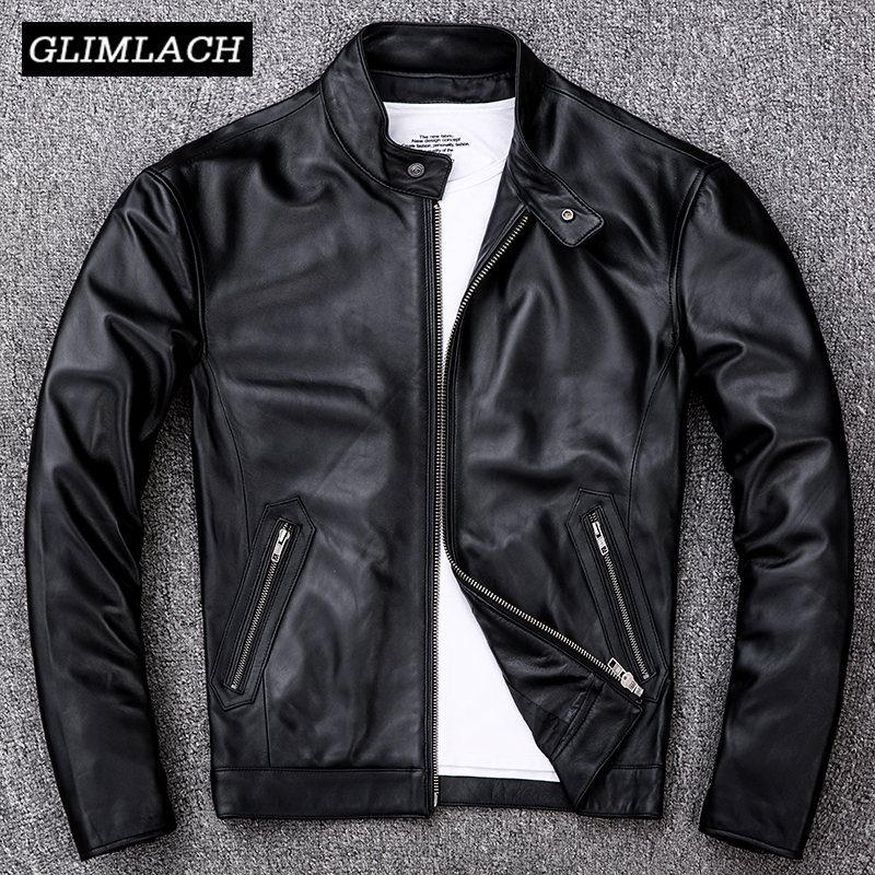 2019 Black Real Leather Lambskin Jacket Men Large Size 4XL Motorcycle Mens Jackets Genuine Sheepskin Bomber Aviator Coat Autumn