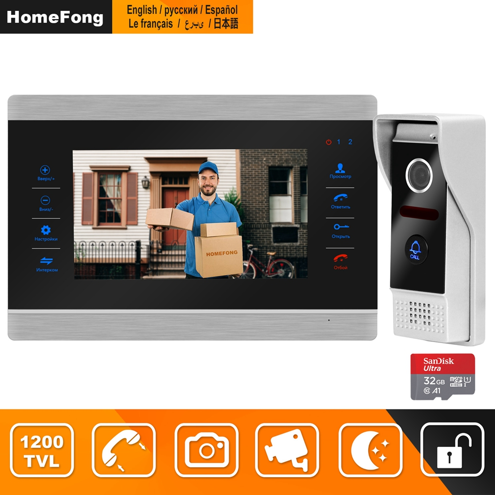 HomeFong Video Intercom Video Door Phone Doorbell Intercom For Home Wired  7 Inch HD Monitor 1200TVL Video Doorbell Support CCTV