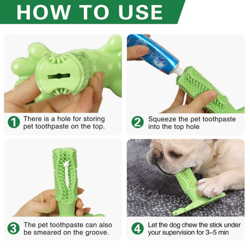 Pet Dog Toothbrush Chew Toy Doggy Brush Stick Soft Rubber Teeth Cleaning Dot Massage Toothpaste for