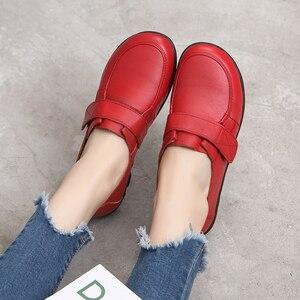 Image 5 - GKTINOO الربيع السيدات جلد طبيعي اليدوية أحذية النساء هوك و حلقة حذاء مسطح النساء 2020 الخريف لينة المتسكعون الشقق