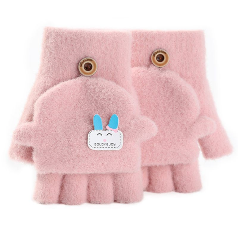 Toddler Kids Winter Plush Knit Cartoon Rabbit Applique Convertible Flip Gloves LX9E