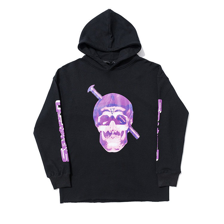 Europe And America Autumn And Winter New Products Vlone Skeleton Screw Printed Loose-Fit Hooded Pullover Hoody Coat