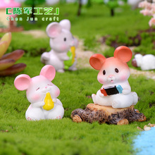 Fairy Miniature Garden Cute Mouse Resin Cartoon Animal Model Miniatures Figurines Home Decoration Accessories for Living Room european angel ornaments living room decorations ornaments cute angel for home decoration accessories fairy garden miniatures