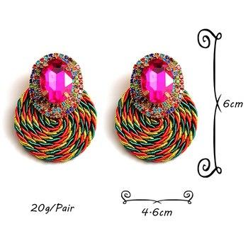 Colorful Crystal High-quality Rhinestone Handmade Round Drop Earrings 6