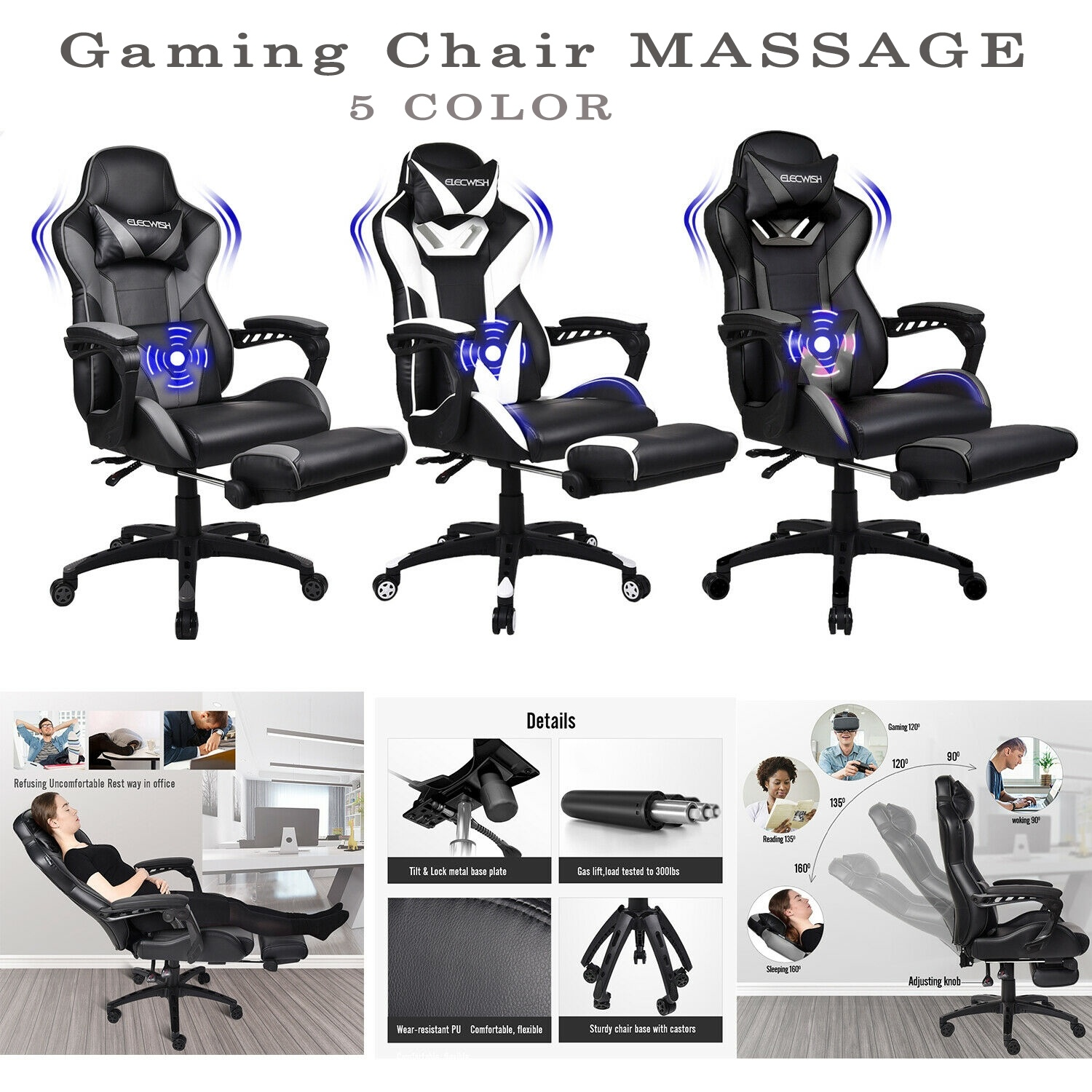 ELECWISH Massage Racing Gaming Computer Chair Adjustable Recliner Leather Office Seat|  - title=