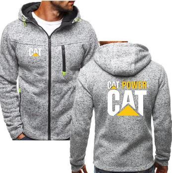 Thick fleece Cat Caterpillar Tractor men winter padded zipper sweatshirt fashion pattern hoodies cool hip-hop hoody 1