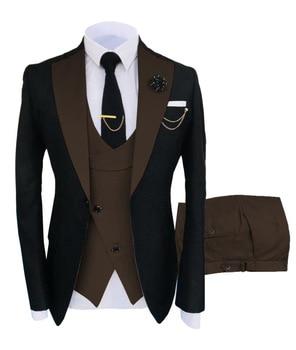 New Costume Slim Fit Men Suits Slim Fit Business Suits Groom Black Tuxedos for Formal Wedding Suits Jacket Pant Vest 3 Pieces 19