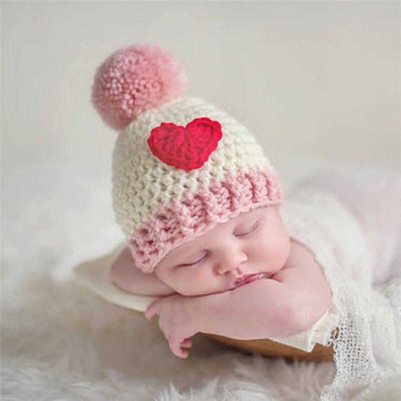 Newborn Wool Hat Baby Handmade Ball Cap Baby Full Moon Photo Studio Props Christmas Heart Hat