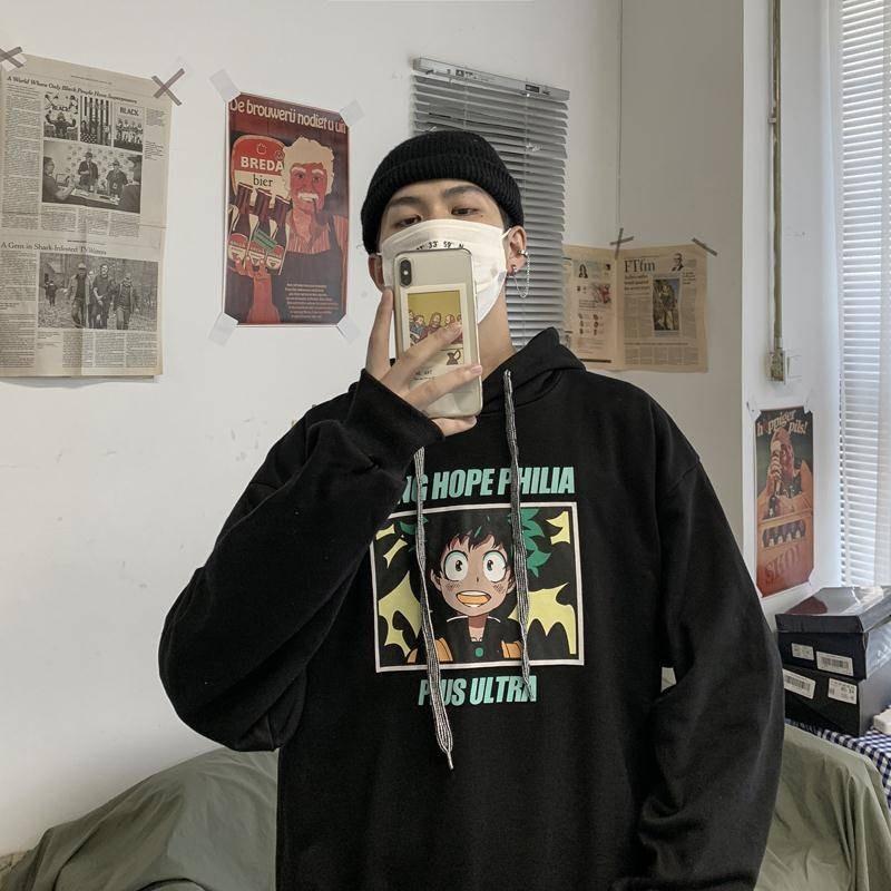 Anime My Hero Academia Men Sweatshirt Casual Hoodie Harajuku Sweatshirt Long Sleeve Men Women Clothing Academy Hoodie Coats Male