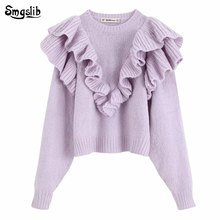 2019 winter sweaters women england vintage ruffles Cascading mohair knitted o-neck pull femme pullovers tops