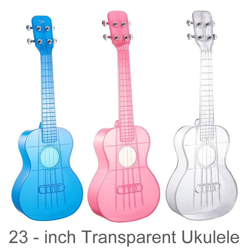 Ukelele de concierto de 23 pulgadas Material de PC transparente Integral Unibody color caramelo ligero 4 cuerdas guitarra 18 trastes