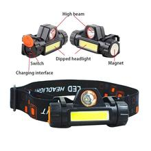 COB Headlight USB Charging Multifunctional Head-mounted 18650 Battery Headlamp Torch For Outdoor Emergency Lighting