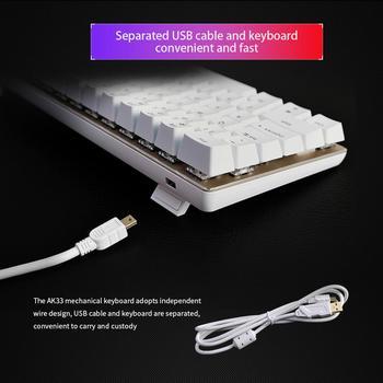 Ajazz AK33 Mechanical Gaming Keyboard Black / Blue Switch 82 Keys Wired Keyboard for PC Games Ergonomic Cool LED Backlit Design 5