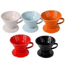 Keramik Kaffee Tropf Motor V60 Stil Kaffee Tropf Filter Tasse Permanent Gießen Über Kaffee Maker Mit Separaten Ständer Für 1-4 tassen