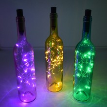 String Led Wine Bottle with Cork 2M 20 LED Bottle Lights AA Battery Cork for Party Wedding Christmas Halloween Bar Decoration(China)