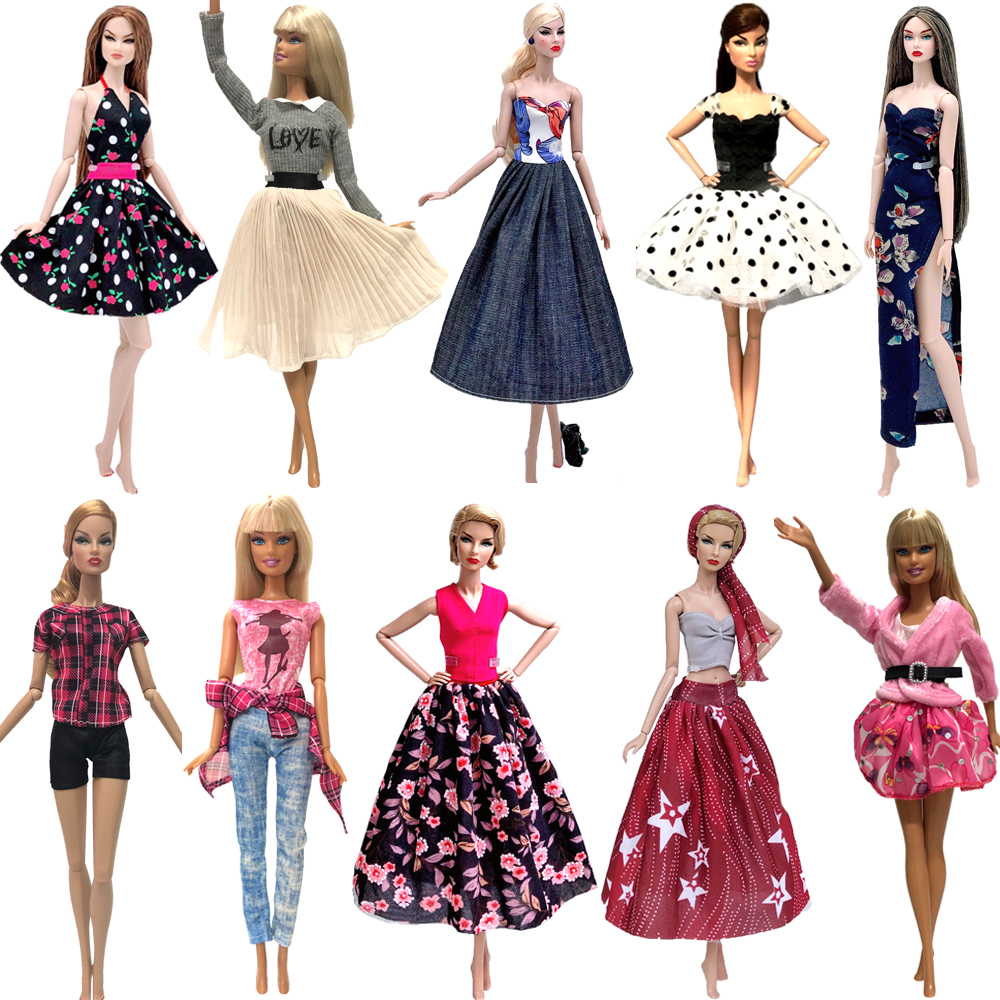 NK MIx Style 1x Doll Dress Noble Skirt Model Clothes Fashion Outfit For Barbie Doll Accessories Child DIY Toys Girls' Gift  JJ