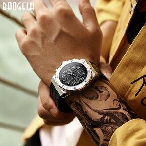 Image 5 - BAOGELA Homme Nouveau 쿼츠 Montres 2019 Étanche Chronographe décontracté Lumineux Montre Bracelet Homme En Cuir Bracelet Relog
