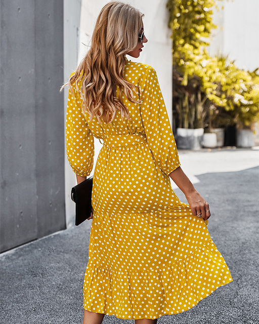 Deenor Summer Vintage Women Dresses Polka Dot Print V Neck Bandage Elegant Midi Dress Boho Beach Party Clothing 2021 Vestidos 2