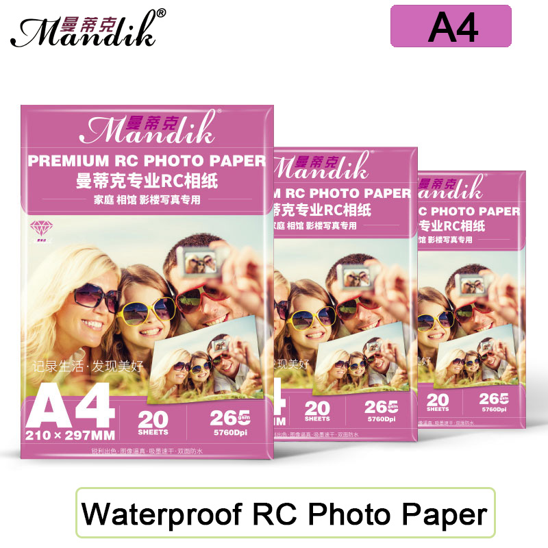 20 ark vanntett 260 gsm A4 RC glanset / glans / grovt matt / vader fotopapir for blekkskriver Canon Printer