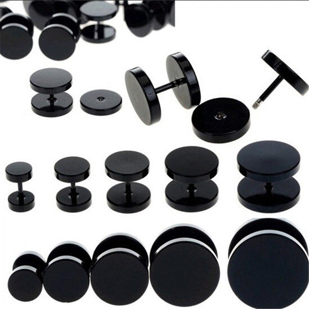 Одна пара, черные круглые серьги-гвоздики из нержавеющей стали для женщин, серьги для пирсинга гантелей, мужские панковские модные ювелирны...