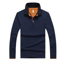 Polo-Shirt Long-Sleeve Slim Cotton Spring Male Casual Men Camisa Soild
