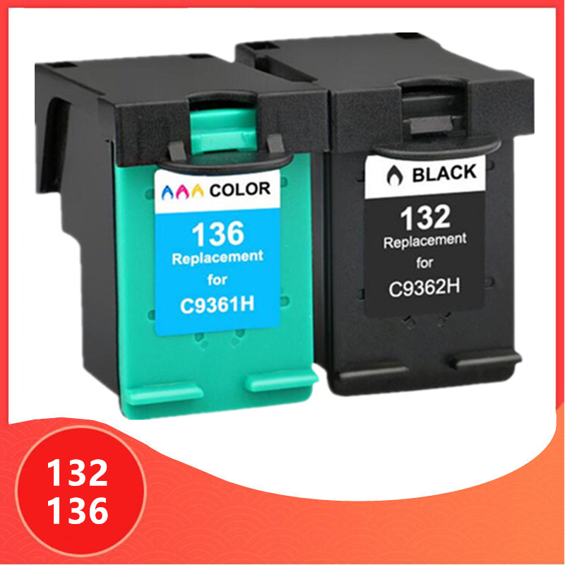 Compatible For Hp 132 136 Ink Cartridge For HP132 For Hp136 Photosmart 2573 C3183 1513 Officejet 6213 5443 D4163 Pcs1513 Printer
