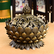 NEW Chinese Buddha Incense Holder Lotus Flower Sandalwood Censer for Home Office Teahouse Use Home Decor Alloy Incense Burner