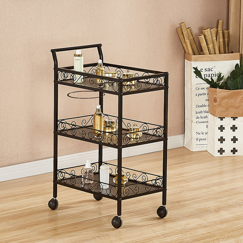 Hand-push Mobile Small Tool Car Storage Rack With Three Layers Of Iron Art