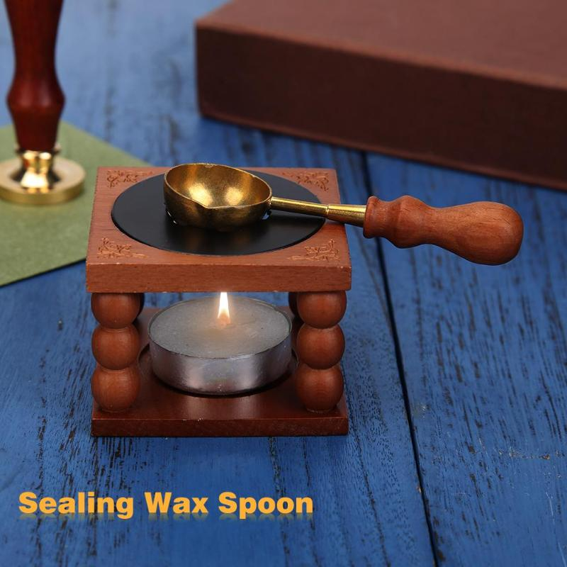 Retro Sealing Wax Furnace Stove Pot Wood Handle Sealing Wax Spoon For Wax Sealing Decorative Wax Stamp Craft Gift Play With Mom