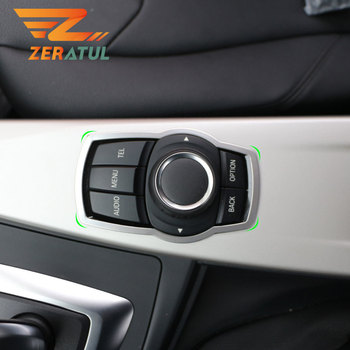 Car Stainless Steel Interior Refit Multimedia Buttons Panel Cover Trim for BMW X1 X3 X5 X6 F20 F01 F30 F15 F34 F31 Accessories image