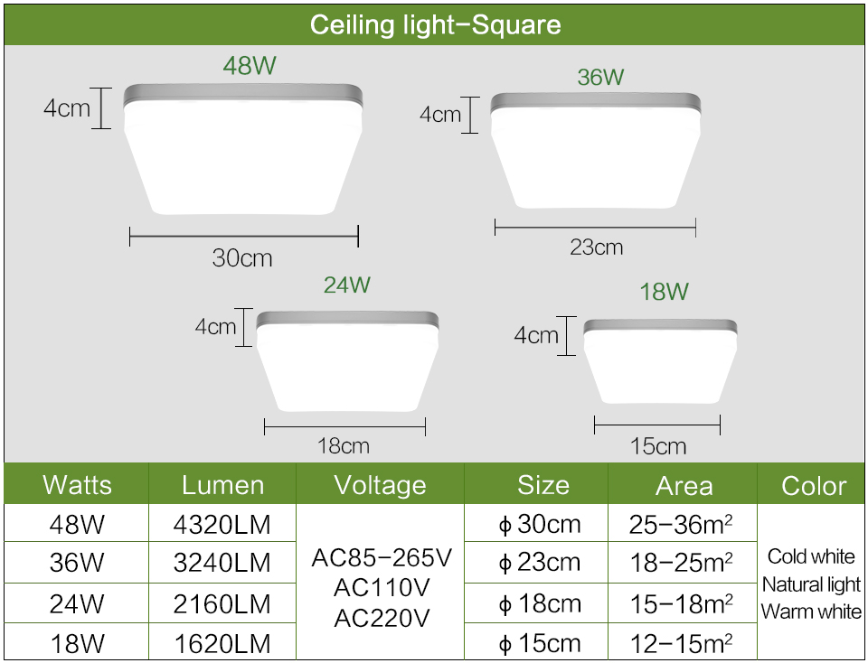85-265v, iluminação moderna para decoração de casa