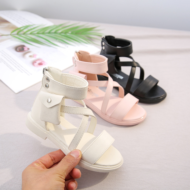 2020 Fashion Side Pocket Beach Sandals For Big Girls Summer Gladiator Cut-Outs Kids Shoes Children Rome Sandals Open Toe D01225