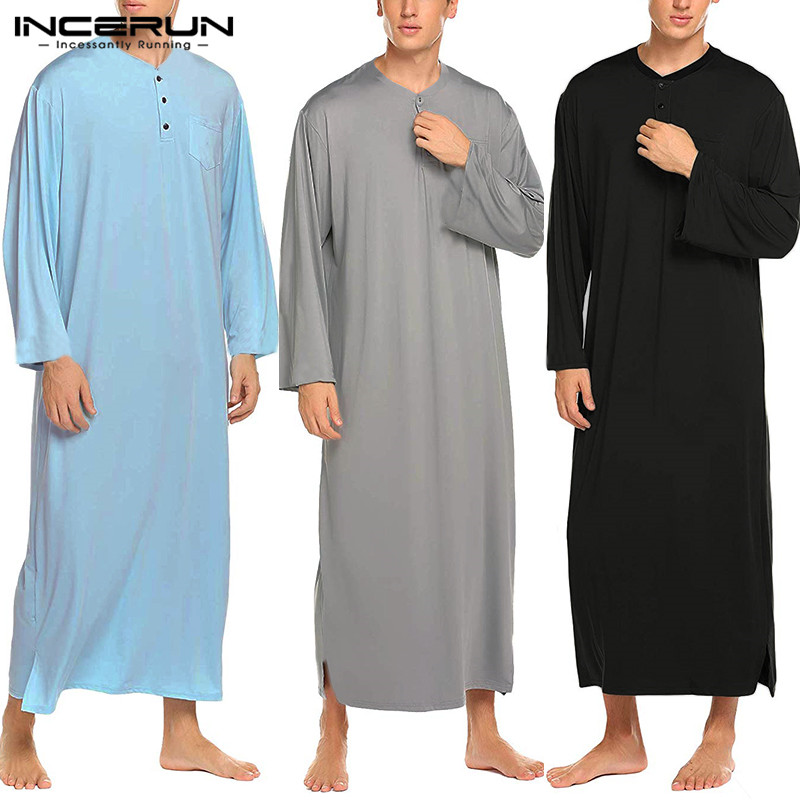 INCERUN Men Robes Solid Color Pajamas Casual Long Sleeve Homewear Round Neck Comfortable Nightgown Bathrobes Mens Muslim Kaftan