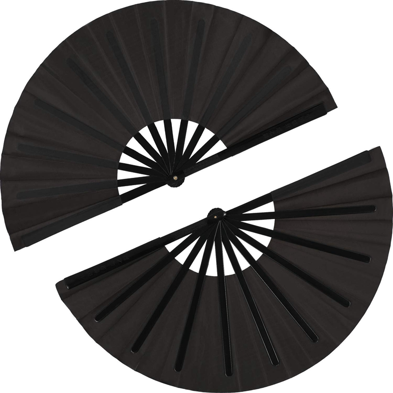 2 Pieces Large Folding Fan Nylon Cloth Handheld Folding Fan Chinese Kung Fu Tai Chi Fan Black Decoration Fold Hand Fan For Party