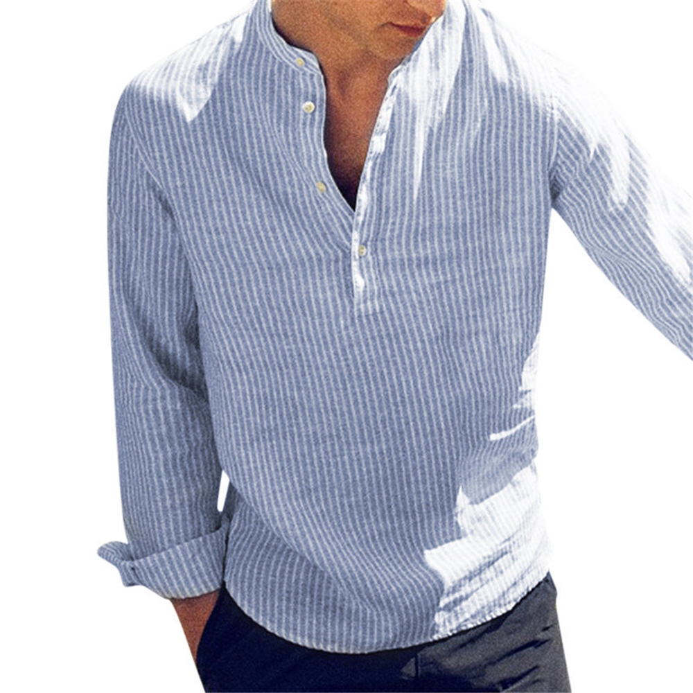 Helisopus 2020 New Cotton Long Sleeve Mens Shirts Spring Summer Striped Slim Fit Stand Collar Shirt Male Clothes Plus Size 5XL
