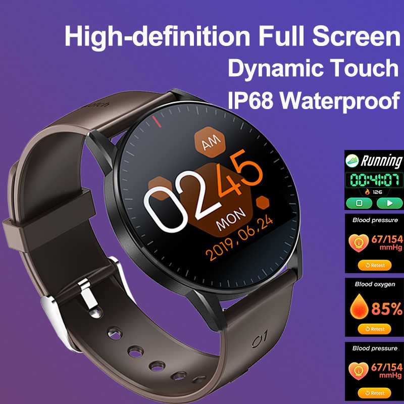 Binssaw Penuh Layar Sentuh Smart Watch Pria Wanita Gelang Heart Rate Tekanan Darah Monitor Tahan Air Bluetooth Smart Watch