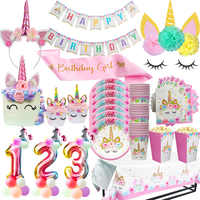 Unicorn Rifornimenti Del Partito Unicorno Rosa Della Fascia del Telaio Stoviglie Usa E Getta Kit per le Ragazze Di Compleanno Decorazioni Del Partito Unicorno Forniture